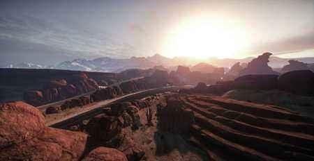 极品飞车OL最新赛道壁纸 绯红峡谷看落日
