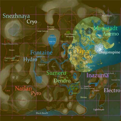原神七个国家地图曝光 原神七国地图一览