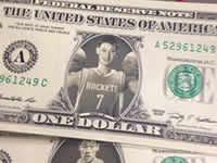 林书豪昔日头像被P成美元 火箭球迷太有才