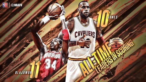 超越大梦!詹皇生涯总得分杀进NBA历史前十