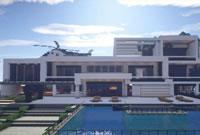 我的世界建筑欣赏 自带直升机的山顶豪宅