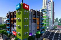洛杉矶街区的建筑 现代公寓建筑与商店街