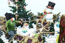 我的世界里犹如仙境般存在的雪中的圣诞村庄