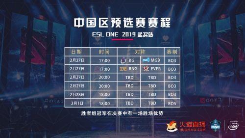 战火升级 火猫承办DOTA2 ESL One孟买站中国区预选赛