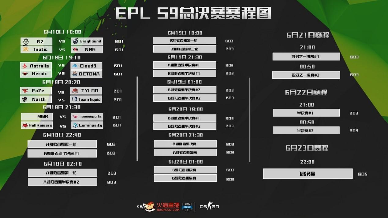 大战在即 火猫全程直播CSGO EPL S9总决赛