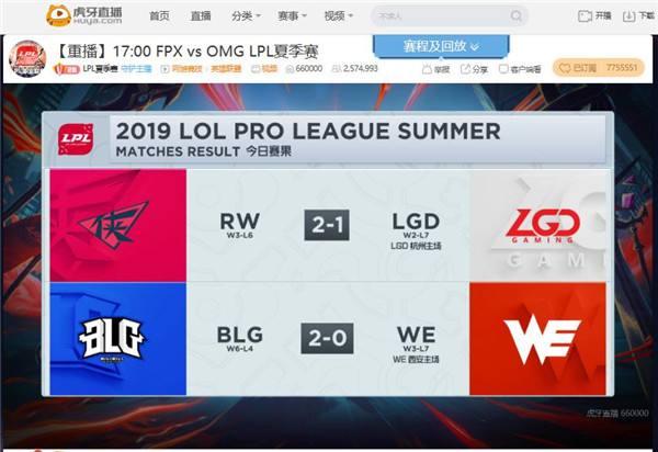虎牙LPL: RW让一追二击败LGD WE憾负BLG基本告别季后赛