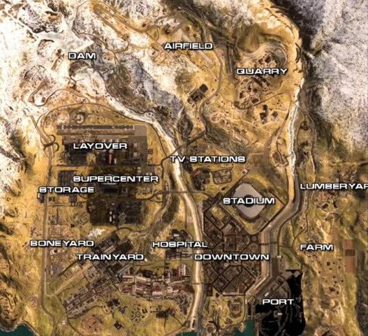 使命召唤16战区地图分布 使命召唤16吃鸡模式高清地图