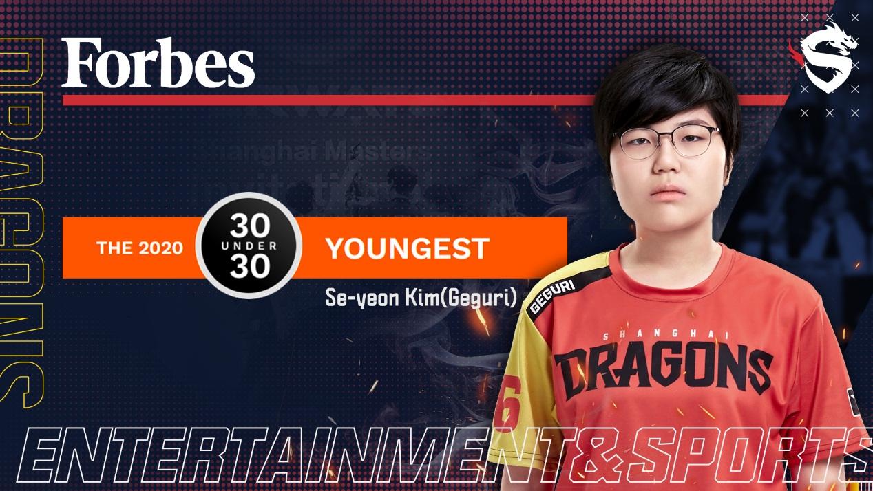 上海龍之隊Geguri入選2020福布斯U30亞洲地區娛樂體育青年精英榜單