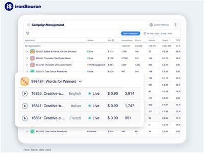 ironSource廣告平臺升級,率先實現廣告素材數據在線查看!