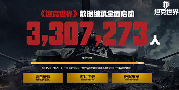 5天330万人回归 《坦克世界》数据继承查询功能上线