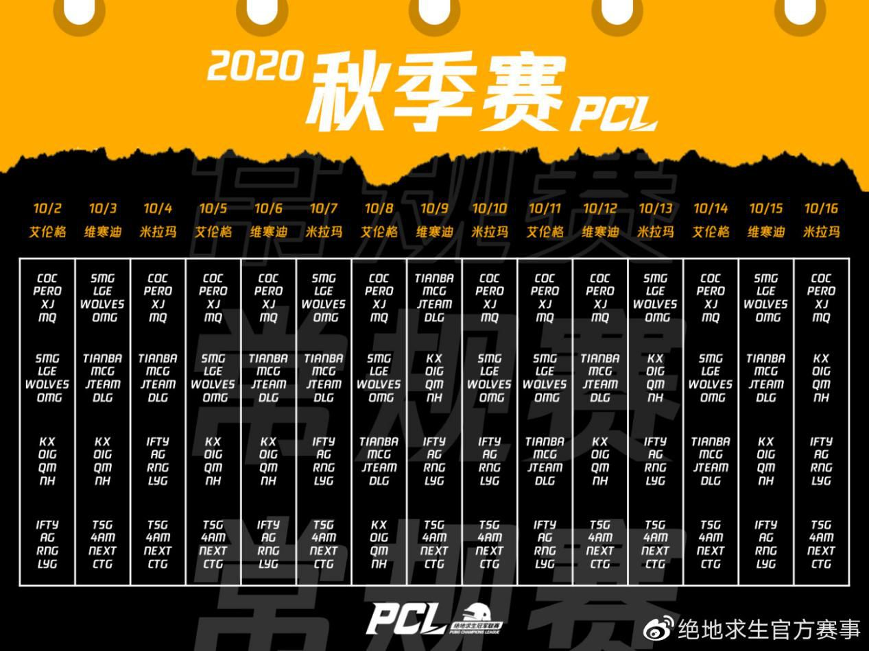 2020PCL秋季赛10月2日开战,联赛升级震撼来袭
