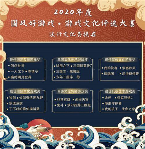 """2020""""国风好游戏""""游戏文化评选大赛名单出炉,百款优秀文化游戏入围"""