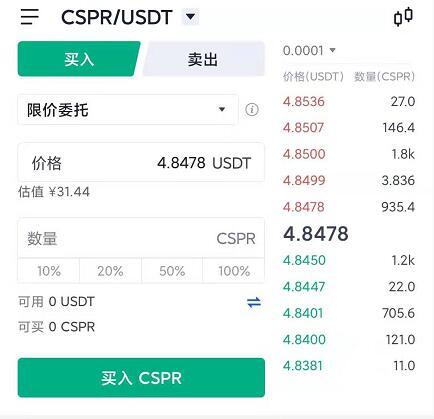 欧易okex怎么购买CSPR币 欧易app购买CSPR币流程