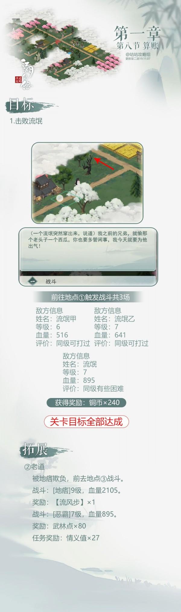 江湖悠悠手游第一章第八节怎么过 1-8通关流程一览