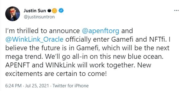 孙宇晨宣布正式进军Gamefi 新项目第四季度上线