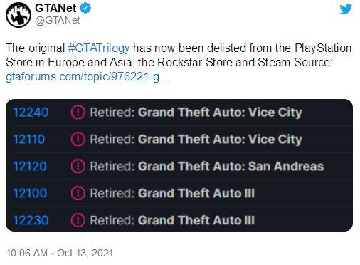 《GTA三部曲》停售:应发行商请求 已购入玩家不影响